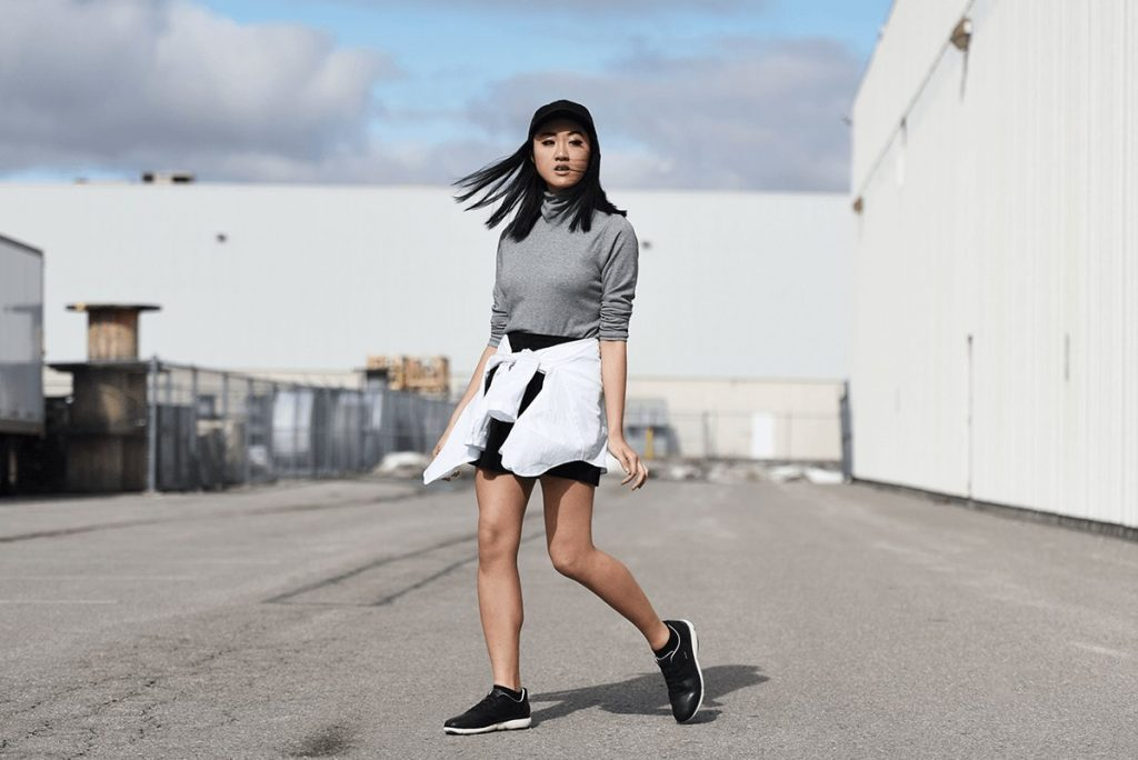 Japanese girl wears casual clothes - geox - docks bruxsel